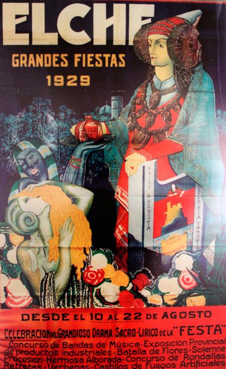Cartel de las fiestas patronales de Elche de 1929 con Dama de Elche