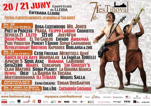 Cartel del festival de música Festinoval de Lleida con Indíbil y Mandonio