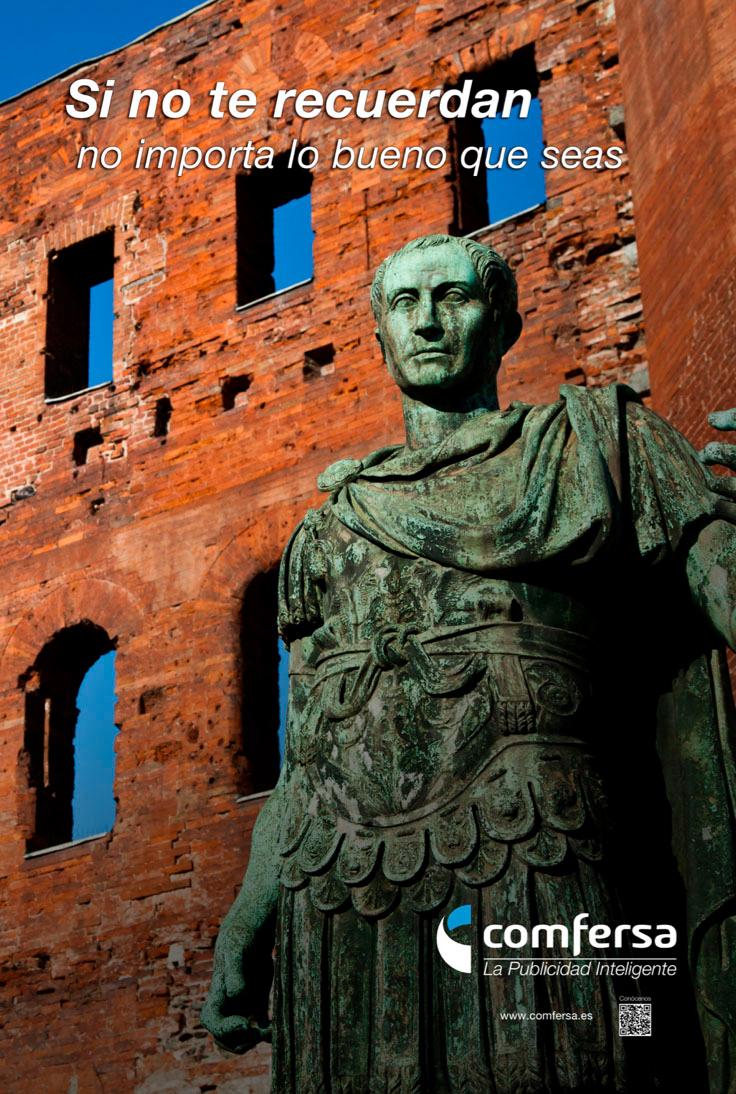 Cartel publicitario con emperador romano