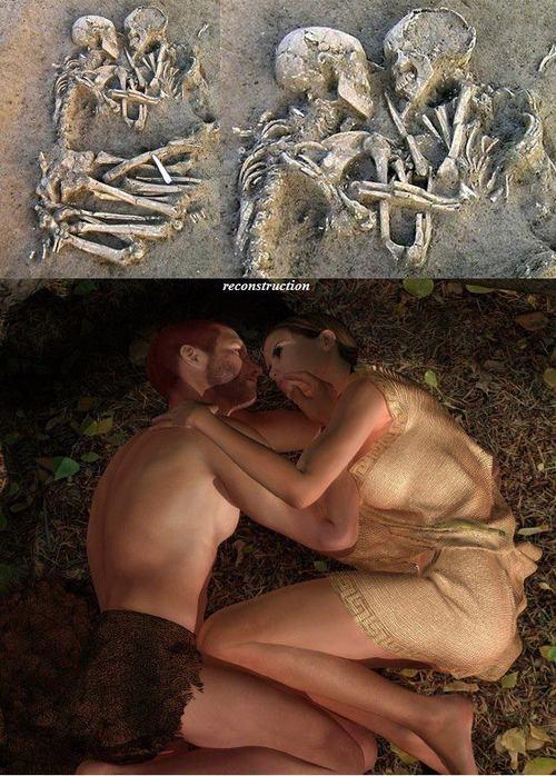 Recreación idealizada de los amantes de Valdaro Italia Neolítico