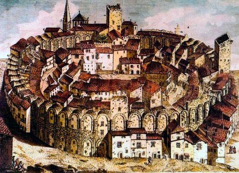 Gravado de Arles del siglo XVIII con imagen del anfiteatro romano con casas