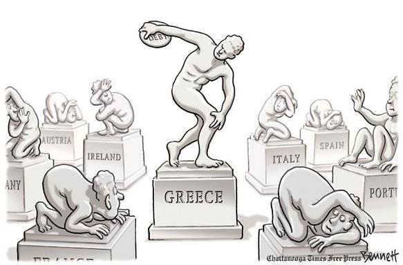 Viñeta humor sobre crisis Griega Discóbolo