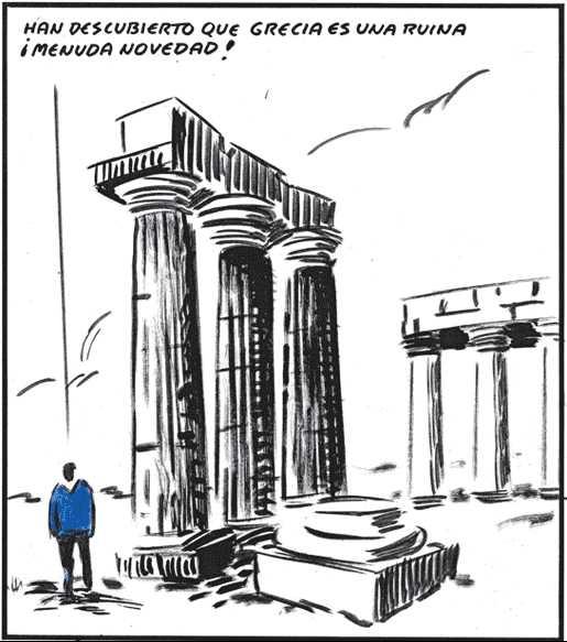 Viñeta humor sobre crisis Griega con templo griego El Roto