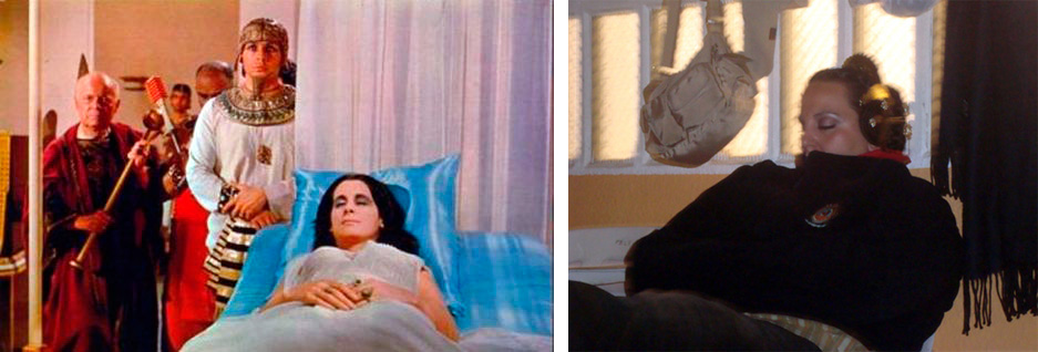 Cleopatra durmiendo y fallera de Valencia durmiendo