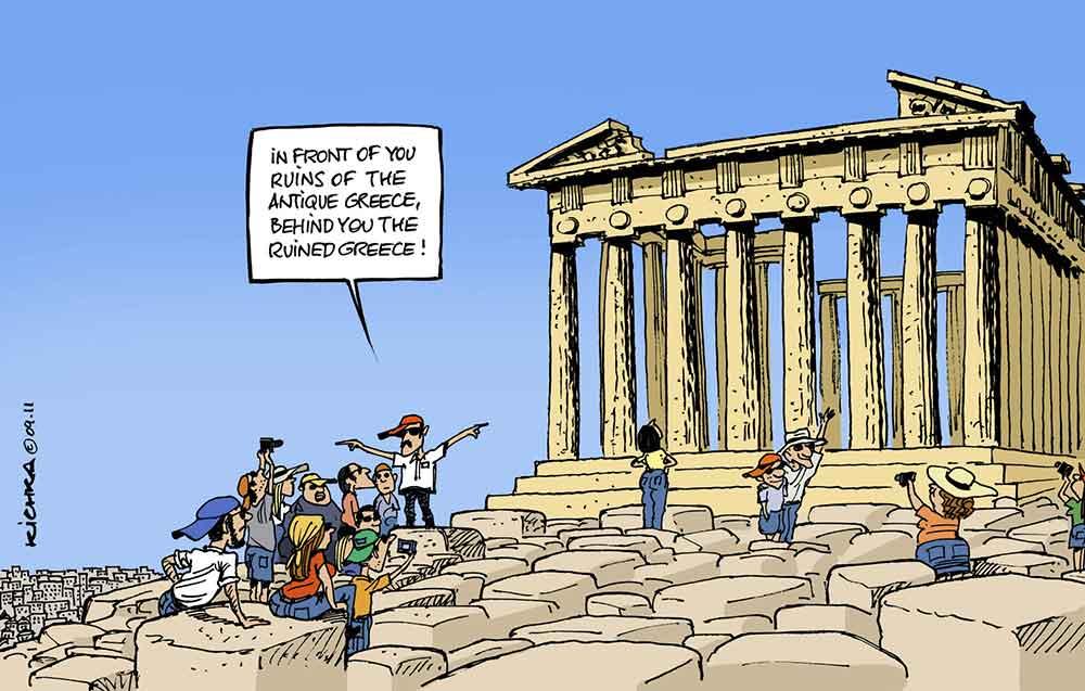 Viñeta humor sobre crisis Griega con Partenón de Atenas