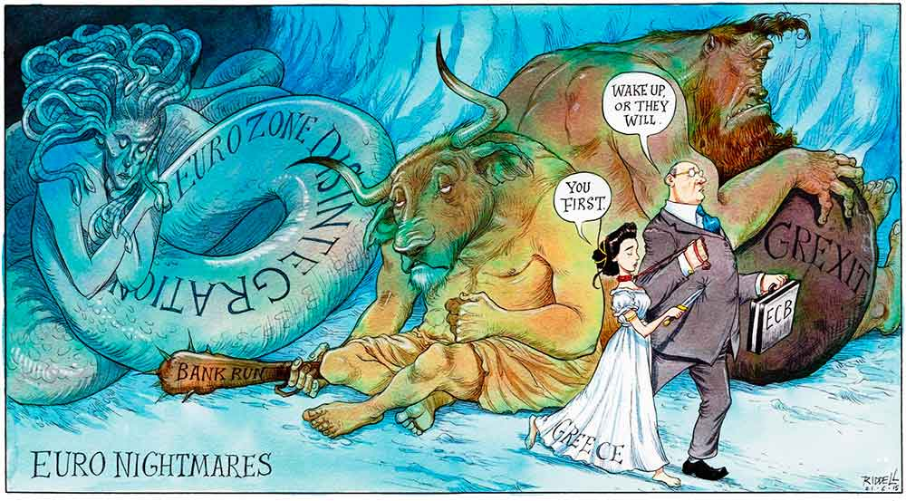 Viñeta humor sobre crisis griega mitología