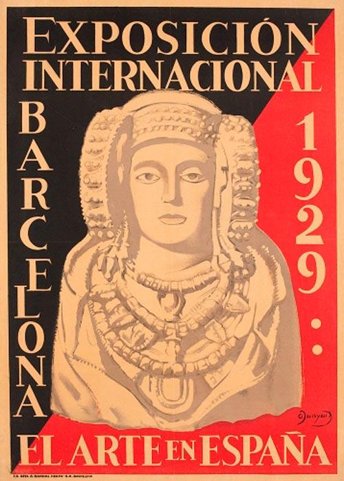 Cartel de la Exposición Internacional de Barcelona de 1929 con busto de Dama de Elche