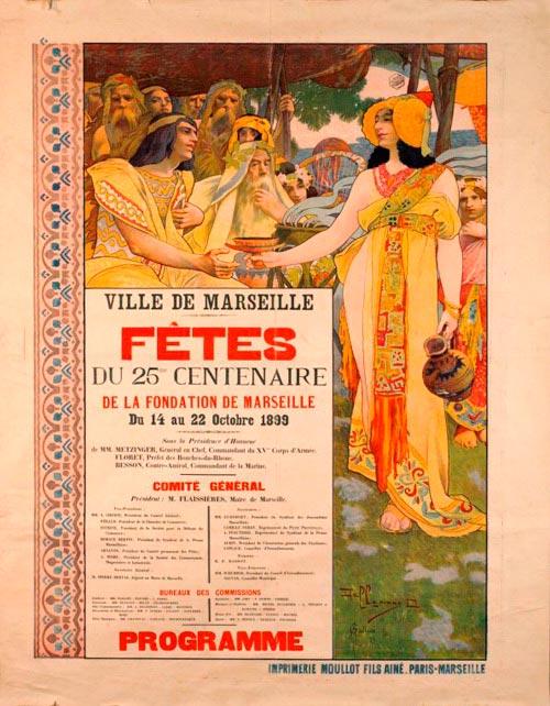 Cartel del 25 centenario de la fundación de Marsella con mujer con tocado de Dama de Elche