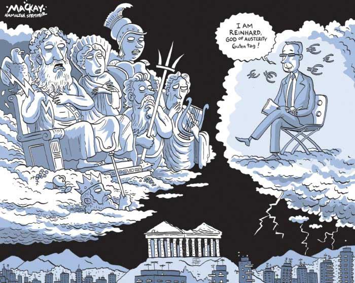 Viñeta humor sobre crisis Griega dioses del Olimpo