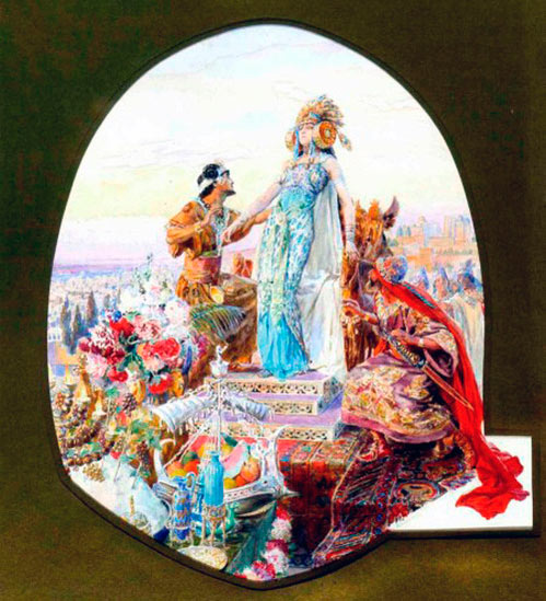 Portada de la novela Salammbo de Flaubert con princesa ataviada como la Dama de Elche