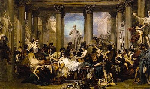 Pintura con representación de las Saturnales romanas