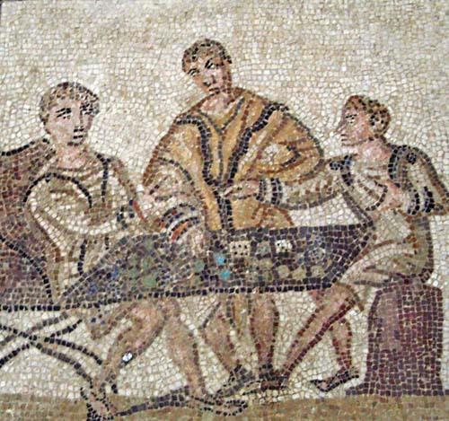 Mosaico romanos con hombres jugando a los dados