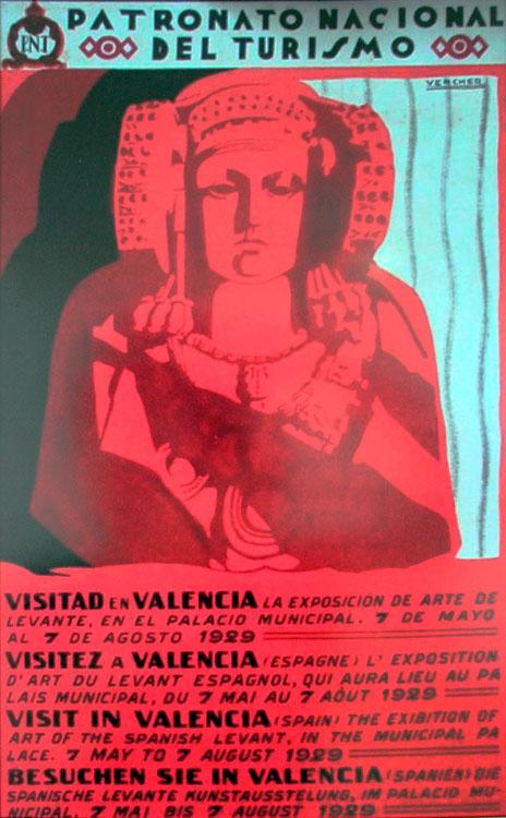 Cartel del Patronato Nacional de Turismo de 1929 que utiliza la Dama de Elche para promocionar Valencia