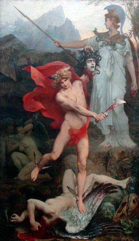 medusa perseo mitología griega atenea Jacques-Clément WAGREZ 1850 - 1908 Perseus 1879