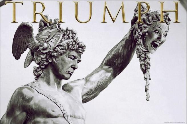 donlad trump hillary clinton triumph medusa perseo mitología griega atenea